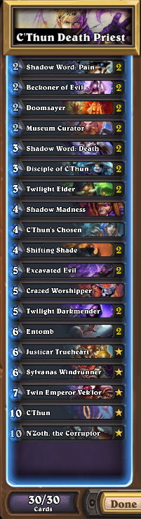 C'Thun Death Priest DECK LIST
